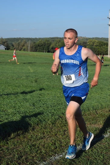 Junior Luke Stuhlsatz runs for the Charger cross country team. The Chargers were undefeated before placing third Saturday.
